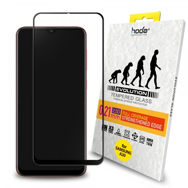 Samsung Galaxy A20 HODA 0.21mm Evolution Black Tempered Glass