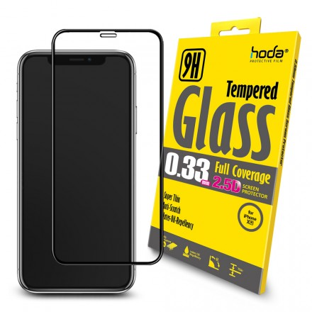 [iPhone XR] Hoda 0.33mm 2.5D Full Coverage Tempered Glass (Black)